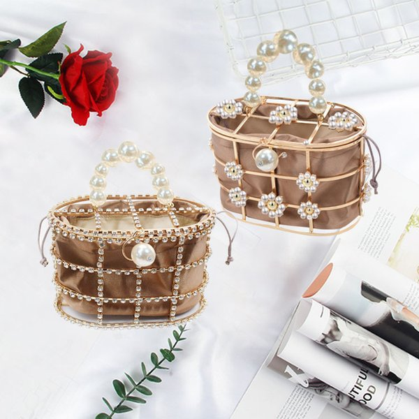 pearls flower metallic cage evening day clutch bags women sweet hollow out bucket handmade purses and handbag bridal beaded bag (501621508) photo