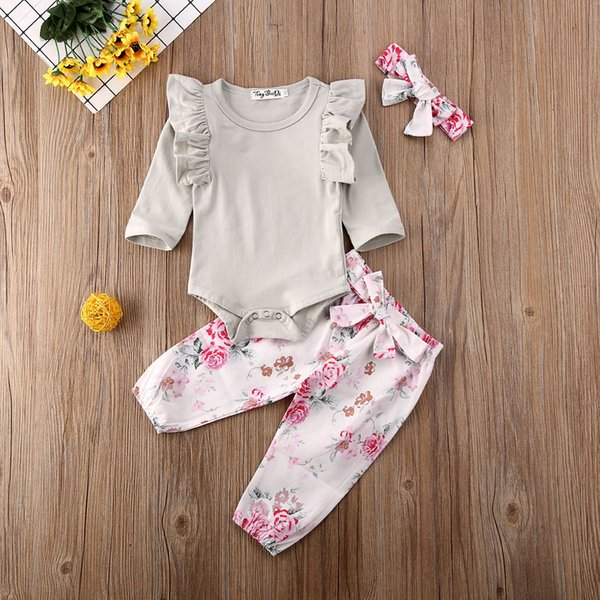 pudcoco newborn baby girl clothes solid color ruffle long sleeve romper  flower print long pants headband 3pcs outfits set