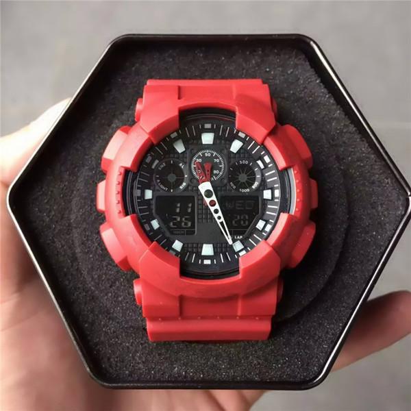 Светодиодные ударные Мужские спортивные наручные часы оптом водонепроницаемый открытый G стиль 100 спортивные часы 2019 резиновый ремешок AAA качество часы подарок нет коробки