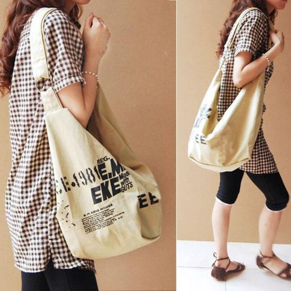 women canvas crossbody hobo large tote messenger shoulder purse with zipper casual work travel bags (548404029) photo