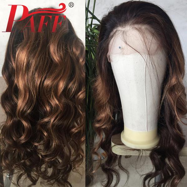 Пафф волнистые 360 кружева фронтальный парик 1B33#30# предварительно выщипать волос 15