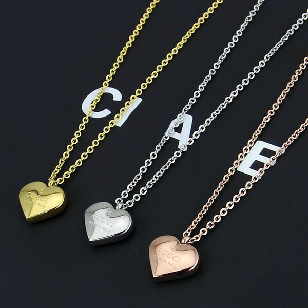 Famou brand jewelry fa hion tainle teel gold ilver ro e gold plated g heart pendant necklace for men women whole ale