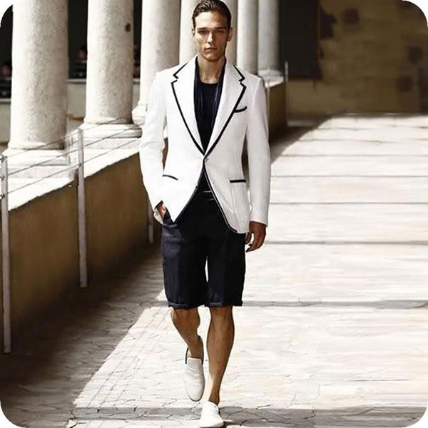 Новейшие дизайны белые мужские костюмы свадебные мужские пиджаки куртка лето свободного покроя смокинги для жениха 2шт (пальто + шорты) Slim Fit Terno Masculino фото