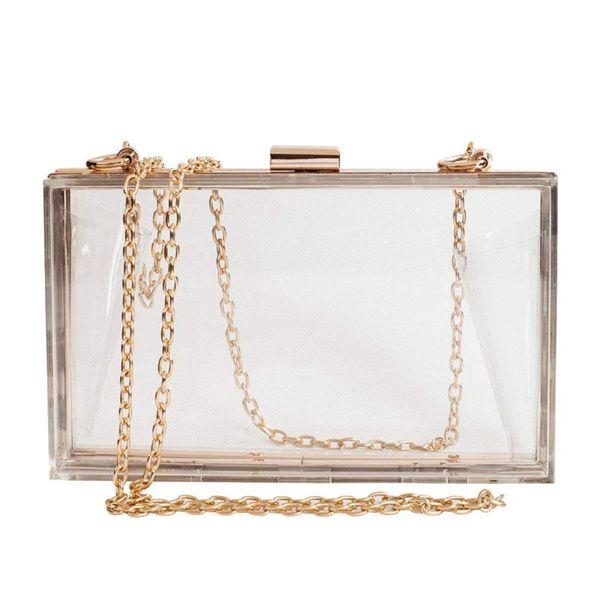 women cute clear acrylic box clutch crossbody purse evening bag (503775911) photo