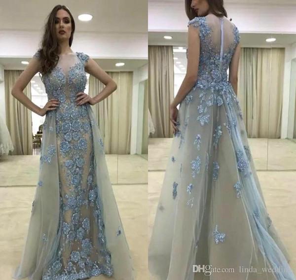 2019 Прозрачное платье с открытой спиной и линия с цветами ручной работы Тюль Вечер