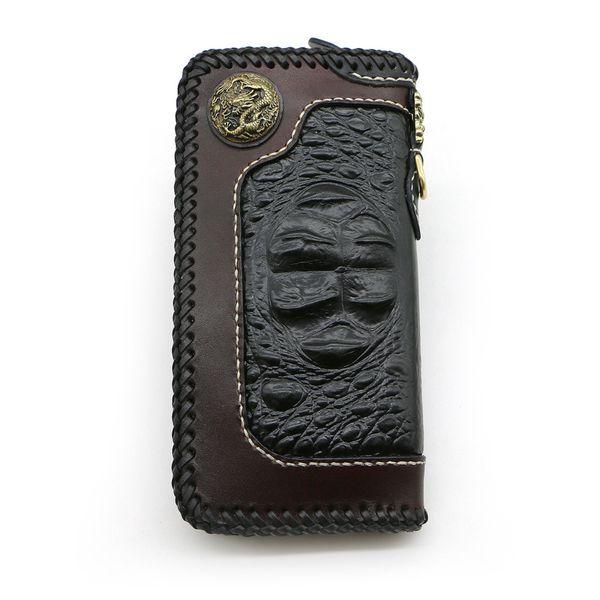 handmade black crocodile pattern wallets bag purses men long clutch vegetable tanned leather walletboy boyfriend gifts (450290929) photo