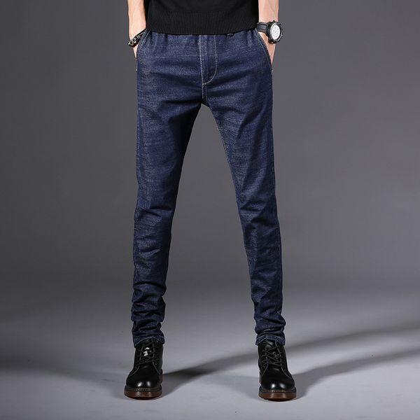 2019 Four Seasons New Men's Jeans Casual High Quality Slim Fit Elastic Denim Straight Pants Fashion Classic Denim Skinny Jeans