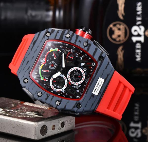 Модные новые топовые роскошные высококачественные мужские часы Кварцевый хронограф мужские часы каучуковый ремешок спортивные мужские часы фото