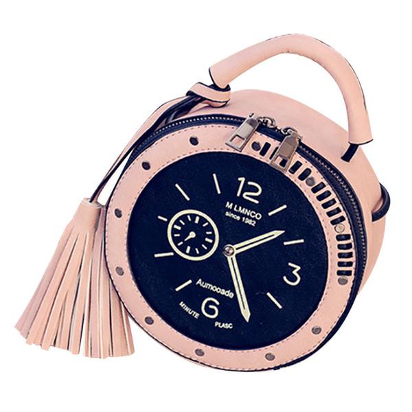 original design watch pattern women circular retro clock tassel shoulder bag exquisite girl original mobile phone purse bag (502442536) photo