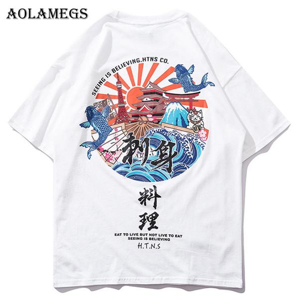 Aolamegs Футболка Мужчины Японский Стиль Печатные мужские Футболки Футболки с О-Обра