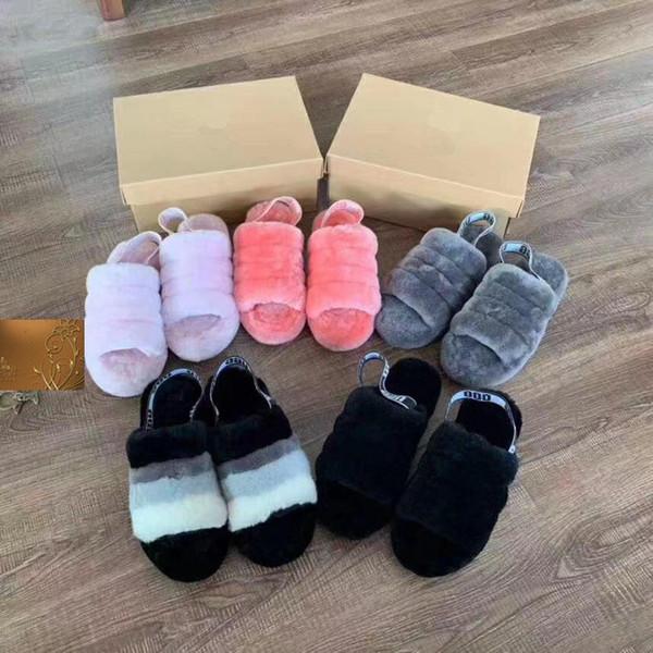 2020 Luxury Designer Женские сандалии Furry Slides Меховые тапочки с плоскими плоскими шерстяны