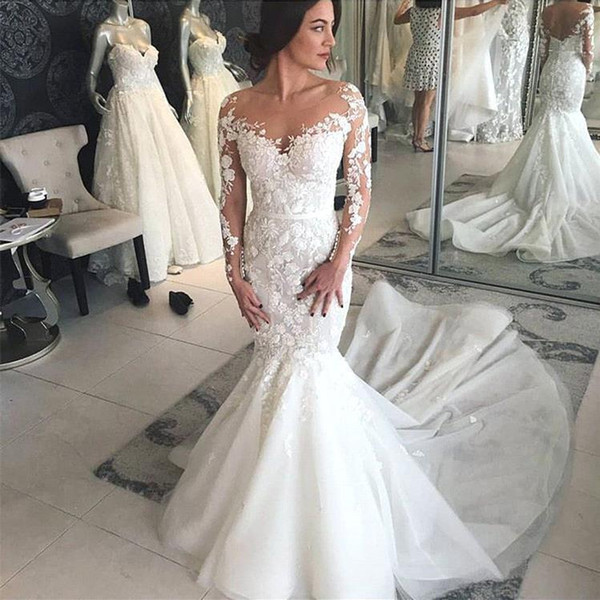 Charming Mermaid Long Sleeves Wedding Dresses 2019 Engagement Dresses Sheer Lace Appliques Trumpet Long Bridal Gowns Robe de mariee BC0405