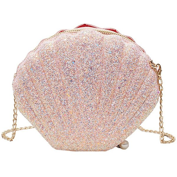 women girls little mermaid seashell purse cross-body shoulder bags glitter sequins chain evening purse (502012806) photo