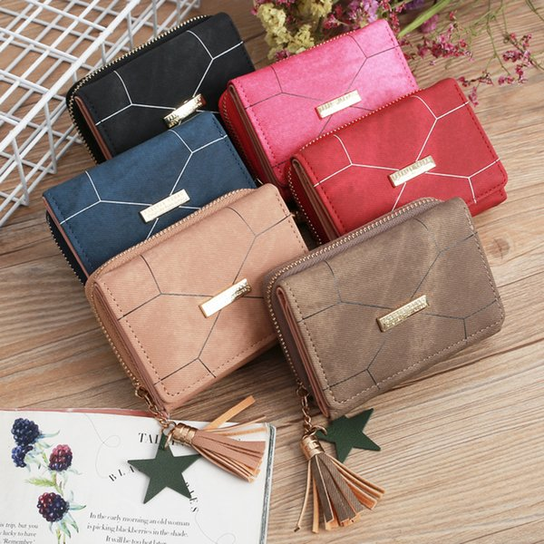 creative geometric patterns women mini wallets zipper purses card holder coin pouches cash pocket girls tassel handbag (477678492) photo