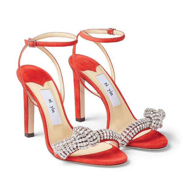 Модные роскошные дизайнерские босоножки на высоких каблуках великолепный горный хрусталь бантом свадебные свадебные туфли размер 34 до 40 tradingbear фото