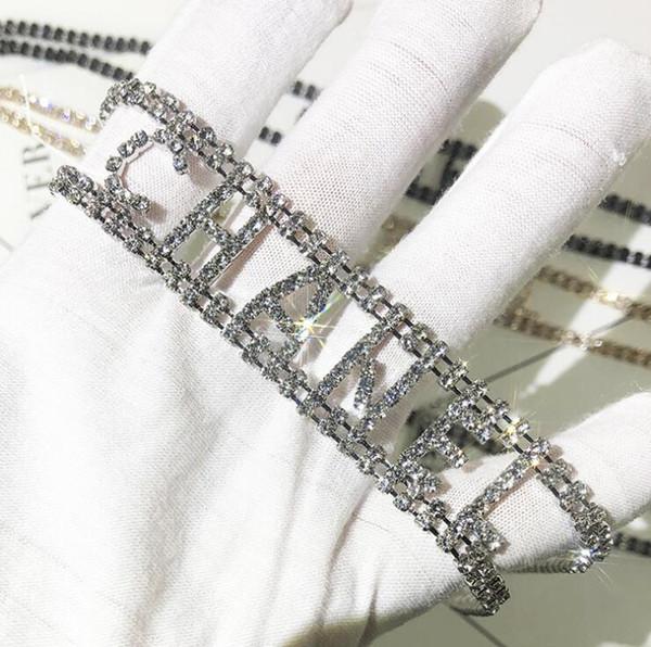 Fa hion de igner choker necklace bracelet with cry tal brand letter tyle cz diamond women necklace bracelet jewelry ilver gold color