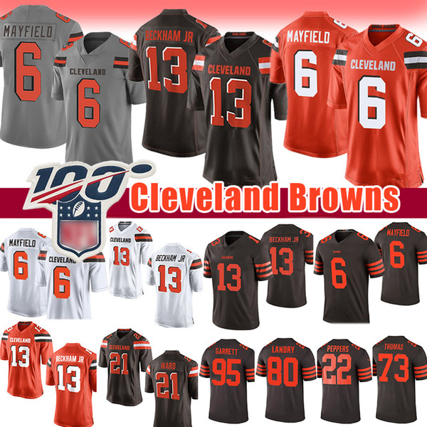 13 odell beckham jr brown  jer ey 6 baker mayfield 80 jarvi  landry 95 myle  garrett cleveland nick chubb ward joe thoma  brown  men
