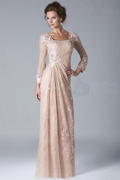 2019 новая коллекция мать невесты Платья Hollow вернуться вечерние платья вечерние платья оболочка с кружевом Appliuqes с длинным рукавом лодыжки-длина