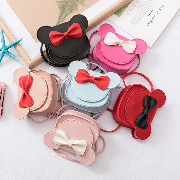2019 girl coin purse handbag children wallet small coin box bag cute mouse bow kid money bag baby shoulder purse (481376981) photo