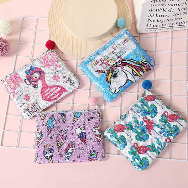 women girl owl/unicorn/flamingo printing mini portable bags fashion coin purse card holder wallet key pouch make up cartoon bag (496063490) photo