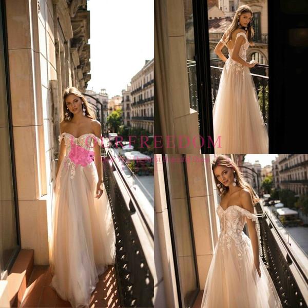 2019 Berta Boho свадебные платья линия с плеча свадебные платья кружева спинки пользова фото