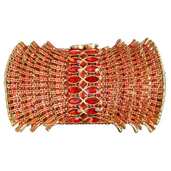 2020 orange rhinestone purse fashion gold metal women evening clutch purse ladies mini female chain clutches (540869716) photo