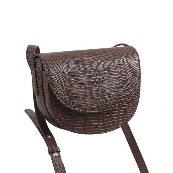 vintage lizard pattern saddle bag women genuine leather bag ladies shoulder bags female crossbody girl handbag fashion purse (541040884) photo