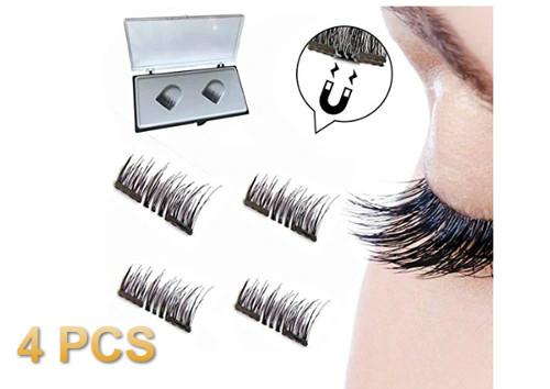 Clearance Sale 4Pcs 3D Magnetic False Fake Eyelashes Eye Makeup Accessories Magnet Long Thick Eye Lashes Natural Mink Soft