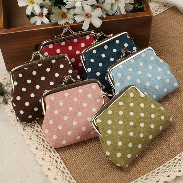newly cute girl mini purse polka dots pattern coin change key pouch snap closure dod886 (481016568) photo