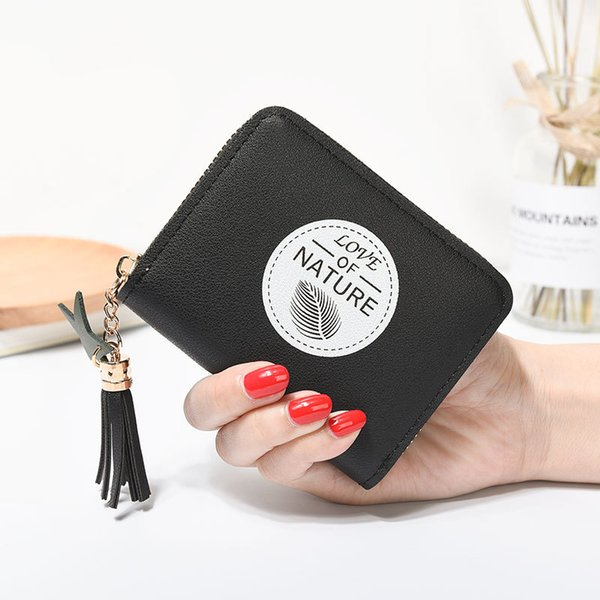 wallet graffiti ladies coin purse short zipper coin bag cute fashion small fresh purse korean new mini girl student wallet (484438943) photo