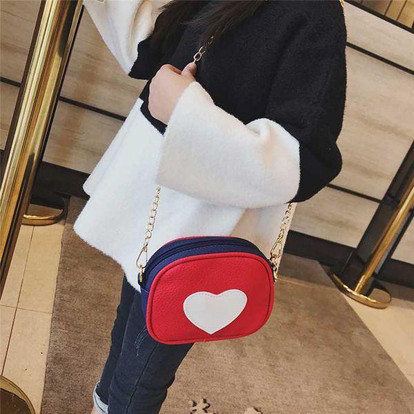 girl shoulder bag heart messenger bag simple fashion handbags casual female chain and purses billetera mujer (535519123) photo