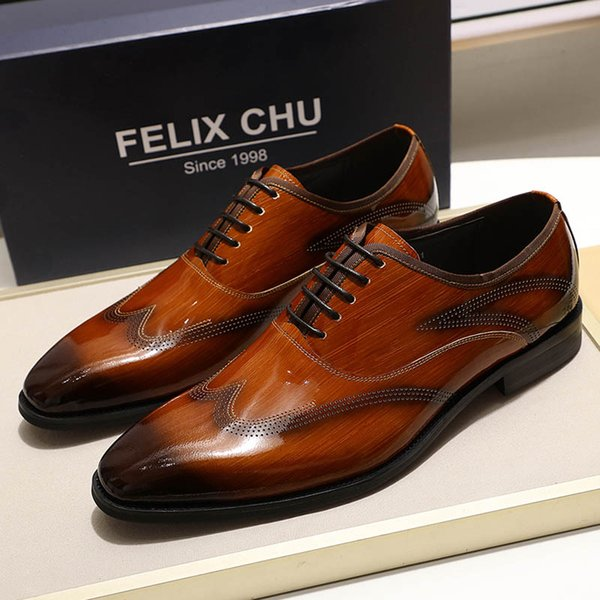 FELIX CHU 2019 Mens Dress Shoes Patent Leather Smooth Brown Black Wingtip Oxford Shoes Lace Up Man Office Business Formal
