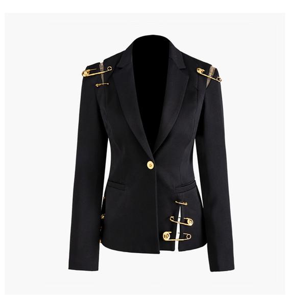 New Autumn Winter Women Black Blazers Lion Head Golden Button Pins Blazer Coat Long Sleeve Slim Office Business Suit Jacket A114