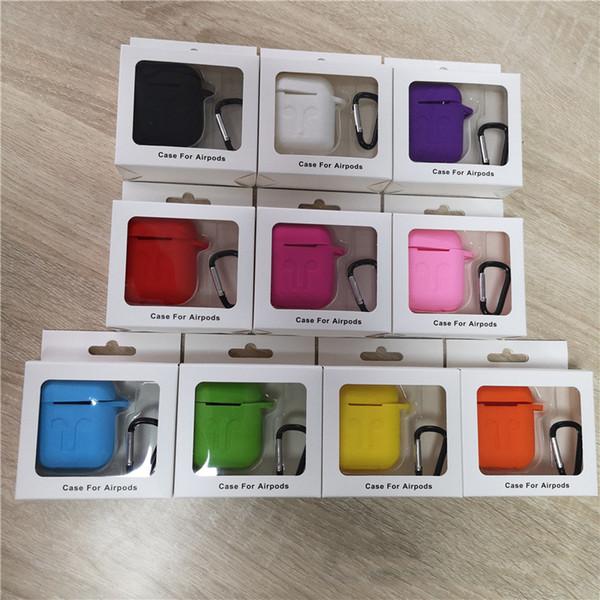 For apple airpod ca e ilicone oft ultra thin protector airpod cover earpod ca e anti drop with hook retail box