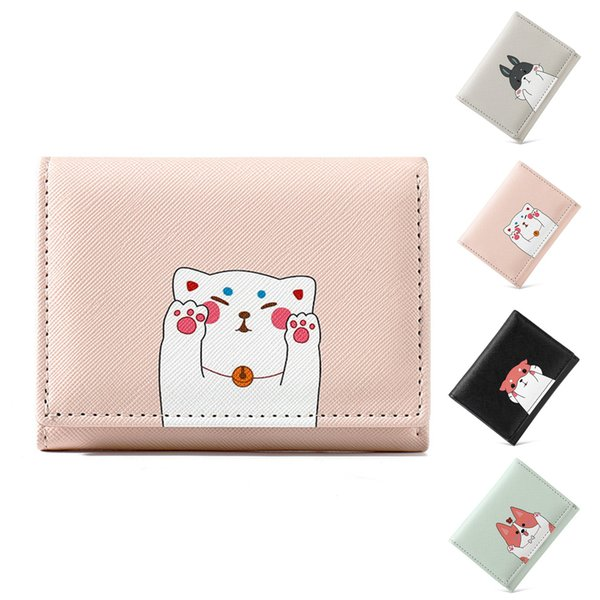 new 2019 wallet women small with cartoon animal print cute cat dog mouse ladies leather little short girl clutch purse (512898905) photo