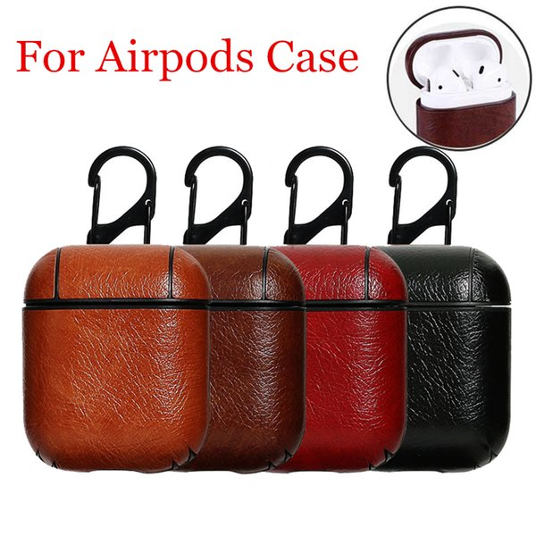 Genuine pu leather headphone ca e for apple air pod  bluetooth earpod  protective  kin cover for airpod  head et  hockproof ca e