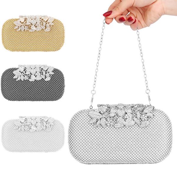 flower rhinestone evening bag wedding party dinner purse crossbody shoulder mini bag k-best (510615194) photo