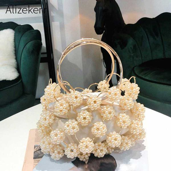 hollow out pearl ball evening bag women 2019 korean handmade metallic ring handle ladies beaded evening clutch bag purses gold (539772593) photo