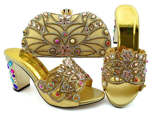 Популярные золотые женские туфли на высоком каблуке с большим кристаллом и бисером для платья африканские туфли на высоком каблуке соответствуют сумочке GFN1902, каблук 9 см фото