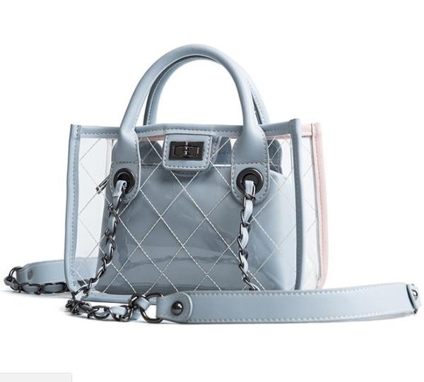 new fashion transparent shoulder crossbody bags pu+pvc clear bag satchel bag ladies girl casual chain handbags and purses (484179675) photo