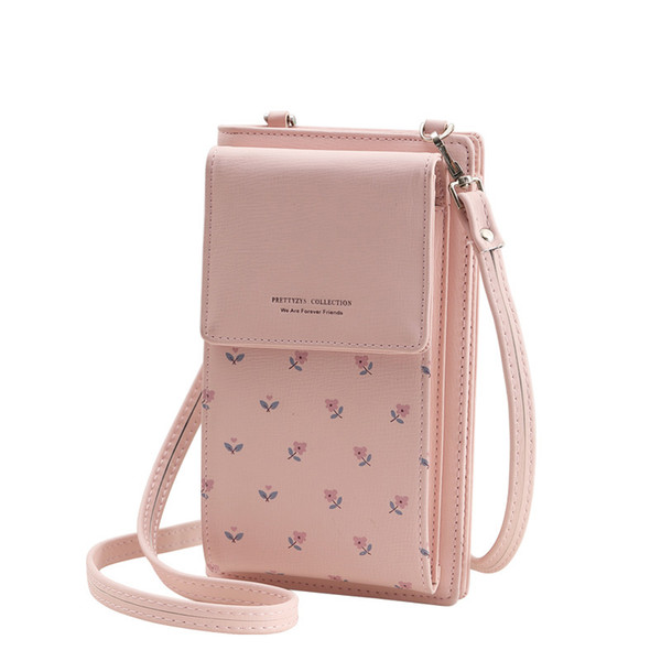fashion printing flower women wallet multifunction phone wallet women mini shoulder bags young girl purse brand crossbody bags (448682428) photo