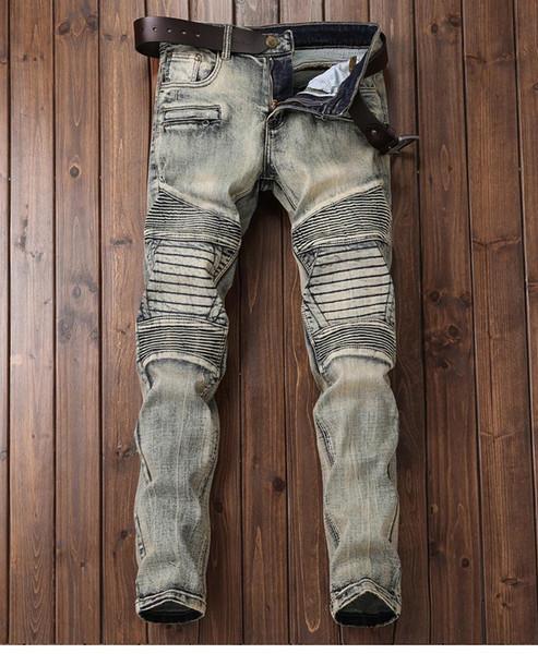 Мужские 2020 роскошные дизайнерские джинсы дизайнерские мужские тощие байкер рок возрождение slim fit высокая талия дизель страх Божий джинсы фото