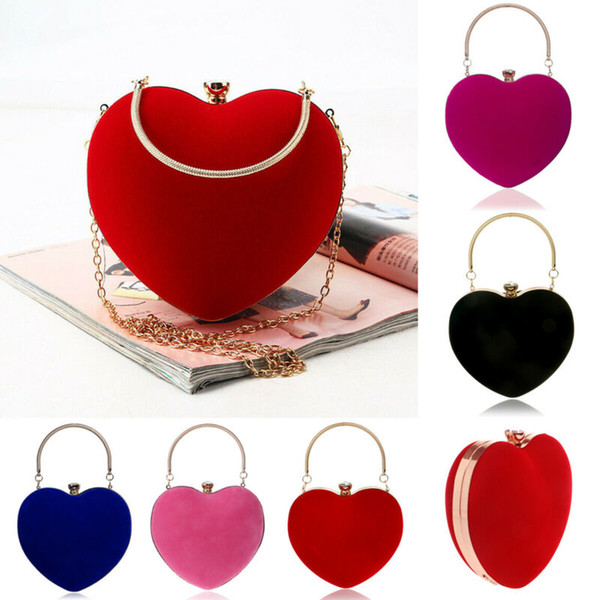 women girl evening party bag heart shape dinner clutch bag wedding prom purse tote lady luxury handbags pochette femme (516510563) photo