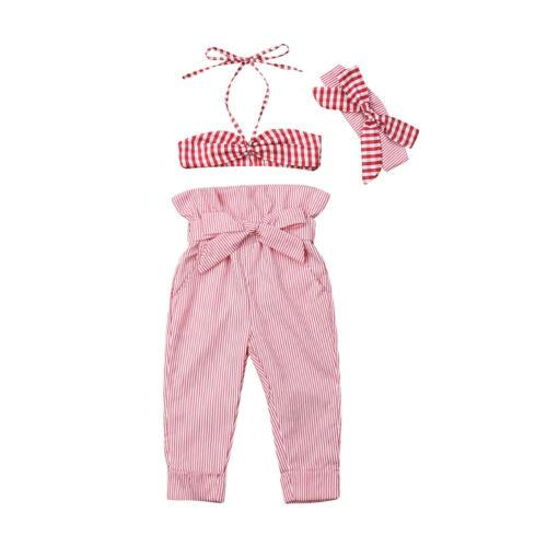 us toddler baby girl sling sleeveless  pants headband sunsuit outfit clothes