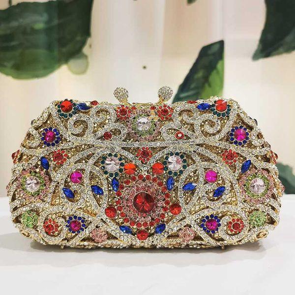 in stock multicolored rhinestone purse evening crystal party purse women chain shoulder mini handbags (536898049) photo