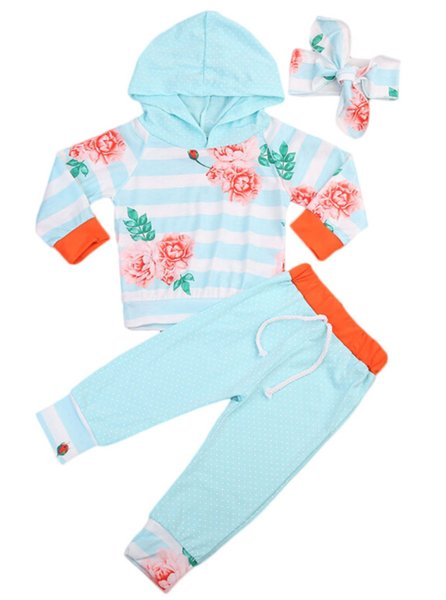 toddler infant baby girls clothes printed floral hooded long sleeve t-shirt and long belt pants headband outfits set for baby