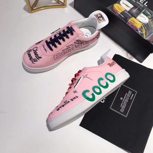 Новые Роскошные Дизайнерские женские теннисные кроссовки с принтом Canvas Surface Fashion
