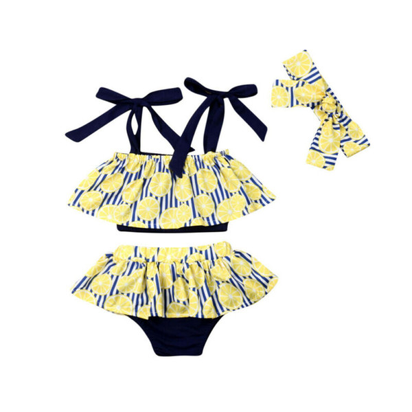 fashion 3pcs summer kid baby girl lemon printing stripe sling vest +shorts skirt summer clothes set