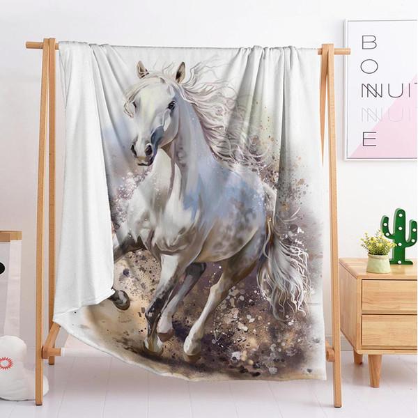 Фланель животное лошадь бросать одеяла популярный двойной один мальчик девочка бросить одеяло гобелена спать одеяло мягкой фланелевой пустой. фото