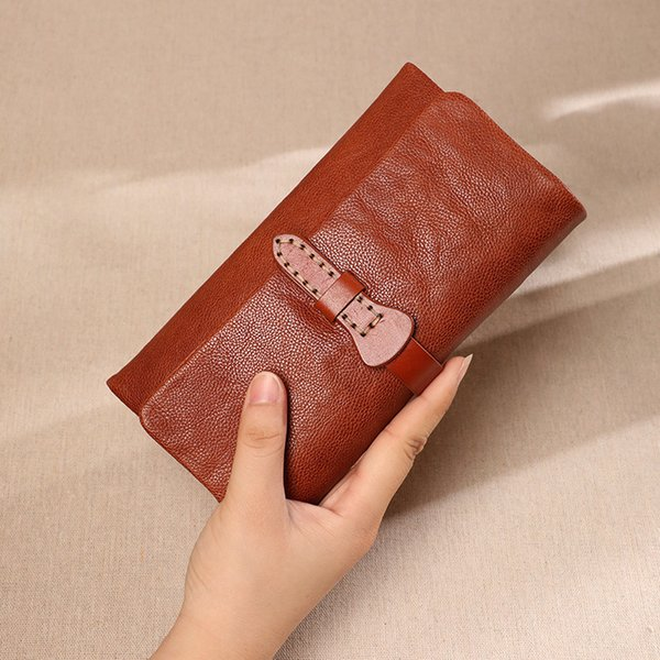 original retro leather tri-fold women wallet handmade large capacity purse card holder wallet for gilrs best (525204677) photo